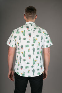 Cactus Plant White Print Cotton Slim Fit Mens Shirt Short Sleeve