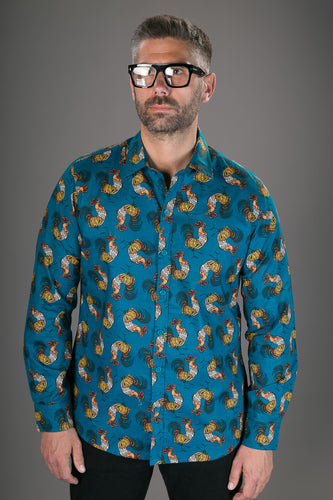 Blue Cockerel Bird Print Cotton Slim Fit Mens Shirt Long Sleeve