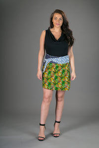 Reversible Cotton Corduroy Skirt Green Floral Print and Stars with Pocket