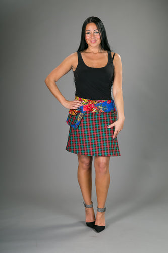 Reversible Cotton Corduroy Skirt Red Floral Tartan Print with Pocket
