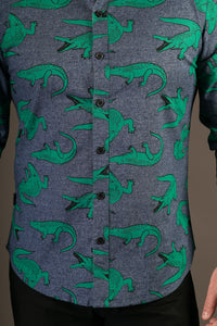 Crocodile Print Cotton Slim Fit Mens Shirt Long Sleeve