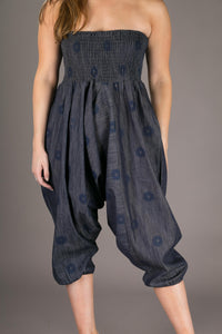 Denim Floral Cotton Harem Yoga Jumpsuit Pants