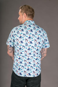Fish Diver Print Cotton Slim and Regular Fit Mens Shirt Short Sleeve
