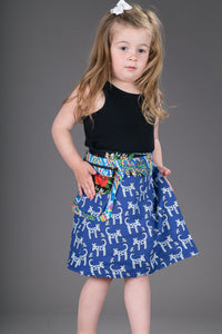 Childrens Reversible Cotton Skirt Blue Dogs Black Floral