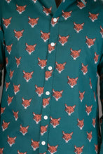 Fox Print Green Cotton Slim-Fit Long-Sleeve Mens Shirt
