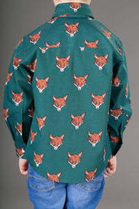 Boys Cotton Green Fox Long Sleeve Shirt