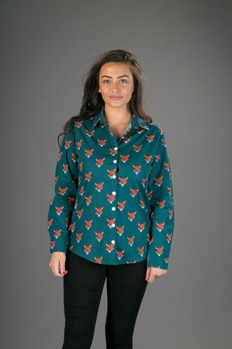 Green Fox Print Cotton Slim Fit Womens Shirt Long Sleeve
