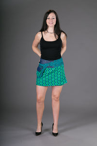 Reversible Cotton Denim Skirt Green Print with Pocket
