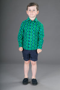 Boys Cotton Green Long Sleeve Shirt