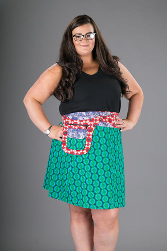 Plus Size Reversible Green Purple Cotton Skirt with Detachable Pocket