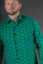 Green Geometric Print Cotton Slim and Regular Fit Mens Shirt Long Sleeve
