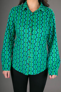 Green Geometric Print Cotton Slim Fit Womens Shirt Long Sleeve