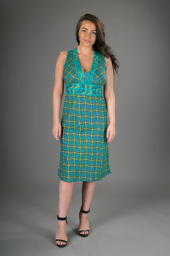 Olivia Cotton Dress Green Geometric Print
