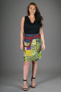 Reversible Cotton Denim Skirt Green Patch Print with Pocket