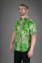 Green Peacock Flowers Print Cotton Slim and Regular Fit Mens Shirt Short Sleeve