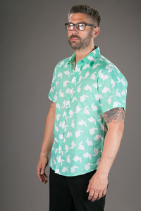 Green White Rabbit Print Cotton Slim Fit Mens Shirt Short Sleeve