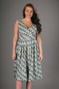 Zoe Cotton Dress Green Fan Print