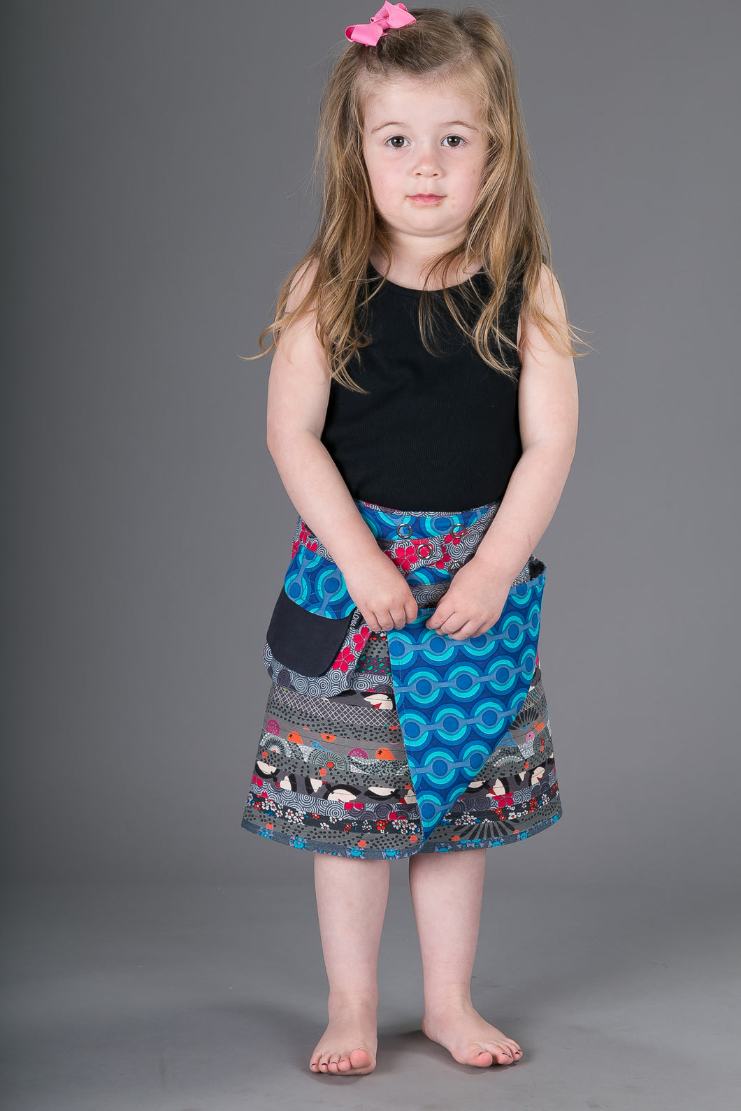 Childrens Reversible Cotton Skirt Grey Blue