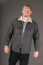 Grey Wool Mens Winter Jacket Shearling Lining