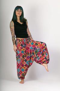 Multi Colour Print Cotton Hareem Yoga Jumpsuit Pants - Avalonia, Avalonia - Avalonia