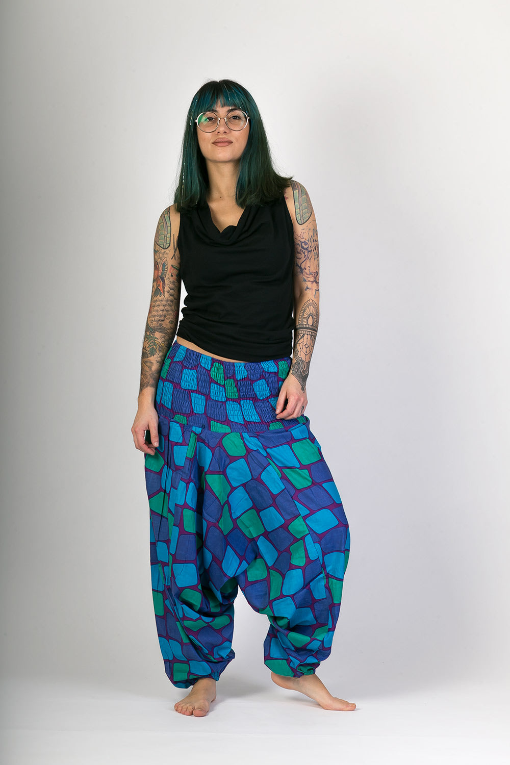 Blue-Green-Print-Cotton-Hareem-Yoga-Jumpsuit-Pants-Avalonia-Avalonia - Avalonia