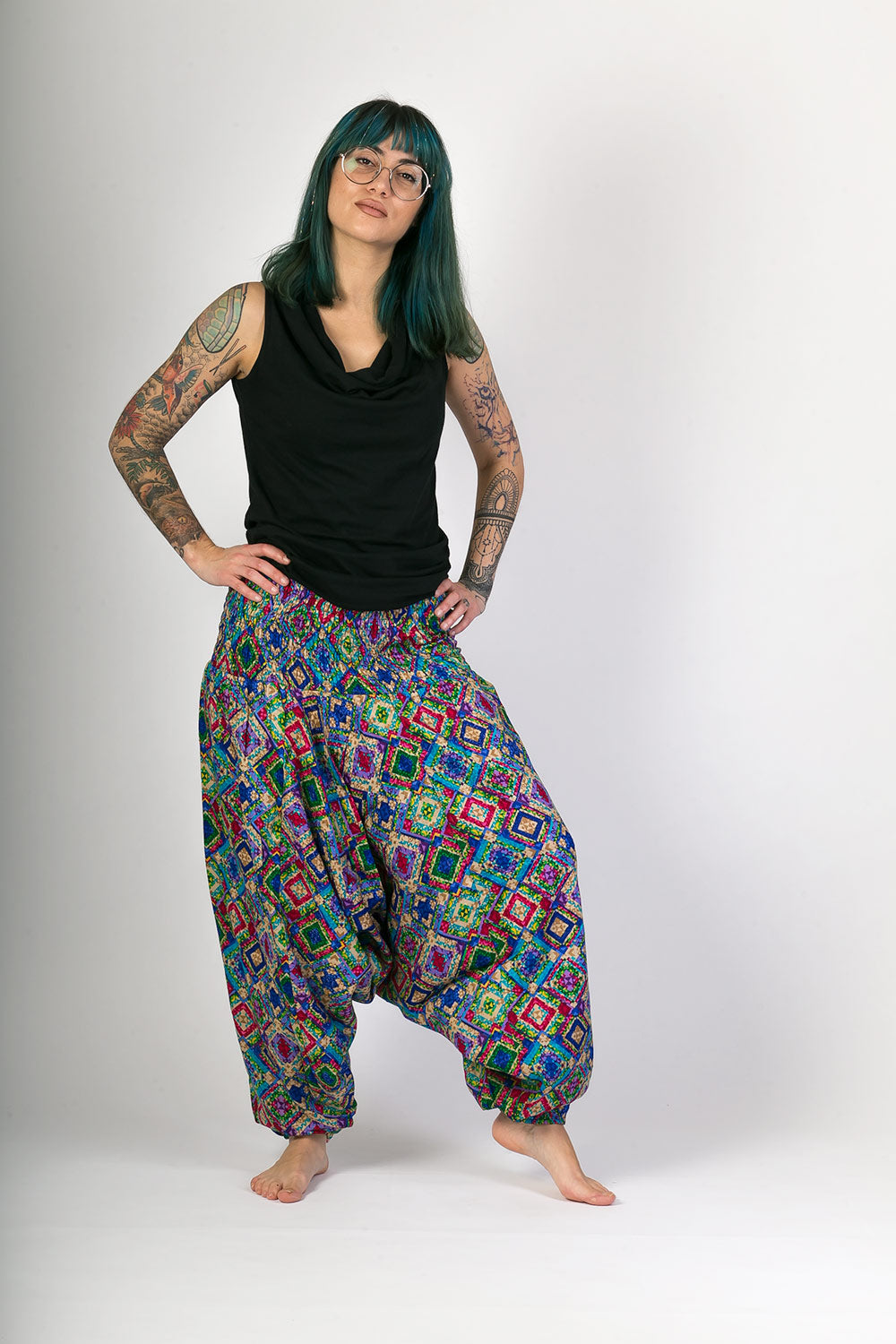 Blue Print Cotton Hareem Yoga Jumpsuit Pants - Avalonia, Avalonia - Avalonia