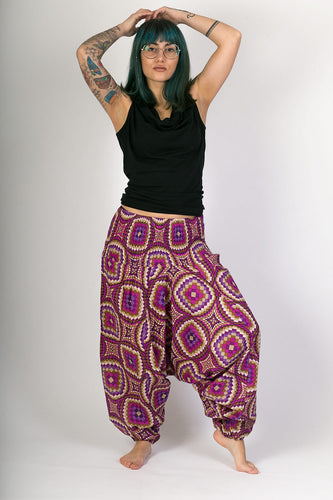 Purple Print Cotton Hareem Yoga Jumpsuit Pants - Avalonia, Avalonia - Avalonia