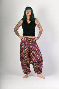 Purple Dots Print Cotton Hareem Yoga Jumpsuit Pants - Avalonia, Avalonia - Avalonia