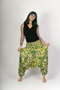Yellow Floral Print Cotton Hareem Yoga Jumpsuit Pants - Avalonia, Avalonia - Avalonia
