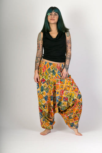 Yellow Print Cotton Hareem Yoga Jumpsuit Pants - Avalonia, Avalonia - Avalonia