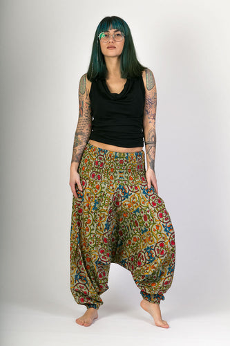 Green Floral Print Cotton Hareem Yoga Jumpsuit Pants - Avalonia, Avalonia - Avalonia