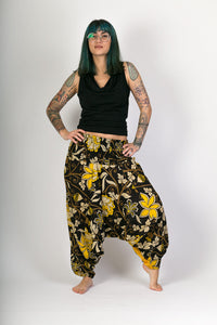 Black-Yellow-Print-Cotton-Hareem-Yoga-Jumpsuit-Pants - Avalonia, Avalonia - Avalonia