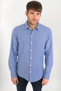 Blue-Cotton-Slim-Fit-Mens-Shirt-Long-Sleeve - Avalonia, Avalonia - Avalonia