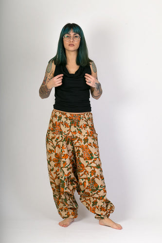 Orange Green Floral Print Cotton Hareem Yoga Jumpsuit Pants - Avalonia, Avalonia - Avalonia