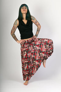 Red Print Cotton Hareem Yoga Jumpsuit Pants - Avalonia, Avalonia - Avalonia