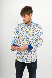 Blue Strawberry Fruit Cotton Slim Fit Mens Shirt Long Sleeve - Avalonia, Avalonia - Avalonia
