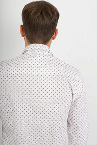 White Green Leaves Cotton Slim Fit Mens Shirt Long Sleeve - Avalonia, Avalonia - Avalonia