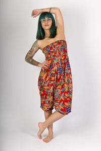 Red Floral Print Cotton Hareem Yoga Jumpsuit Pants - Avalonia, Avalonia - Avalonia