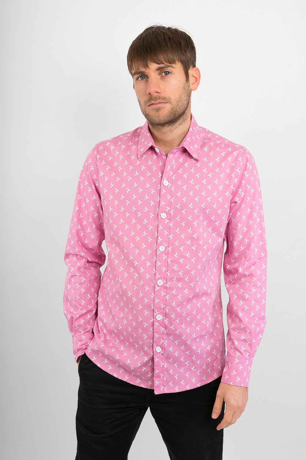 Pink Reindeer Print Cotton Slim Fit Mens Shirt Long Sleeve - Avalonia, Avalonia - Avalonia
