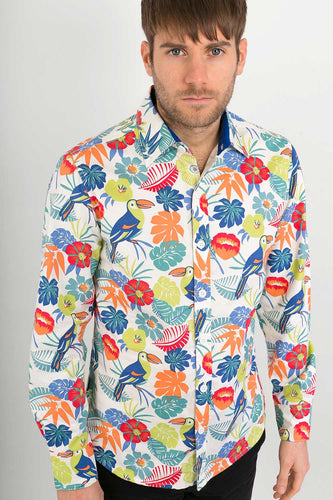 White Tropical Print Cotton Slim Fit Mens Shirt Long Sleeve - Avalonia, Avalonia - Avalonia