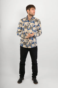 Blue Lions Tigers Print Cotton Slim Fit Mens Shirt Long Sleeve - Avalonia, Avalonia - Avalonia