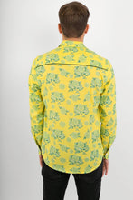 Yellow Lime Print Lightweight Cotton Slim Fit Mens Shirt Long Sleeve - Avalonia, Avalonia - Avalonia