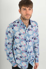 Blue Pink Hummingbirds Print Cotton Slim Fit Mens Shirt Long Sleeve - Avalonia, Avalonia - Avalonia