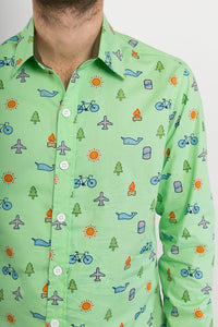 Green Plane Whale Tree Sun Bike Print Cotton Slim Fit Mens Shirt Long Sleeve - Avalonia, Avalonia - Avalonia