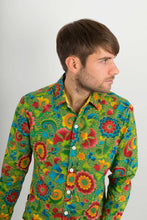 Green Multi Coloured Floral Print Cotton Slim Fit Mens Shirt Long Sleeve - Avalonia, Avalonia - Avalonia