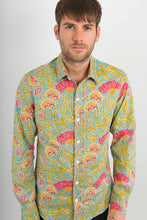 Light Green Floral Print Cotton Slim Fit Mens Shirt Long Sleeve - Avalonia, Avalonia - Avalonia