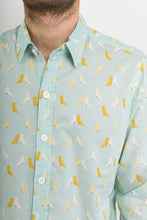 Birds-Light-Green-Print-Cotton-Slim-Fit-Mens-Shirt-Long-Sleeve - Avalonia - Avalonia online