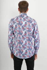 Lobster Blue Sea Print Cotton Slim Fit Mens Shirt Long Sleeve - Avalonia, Avalonia - Avalonia