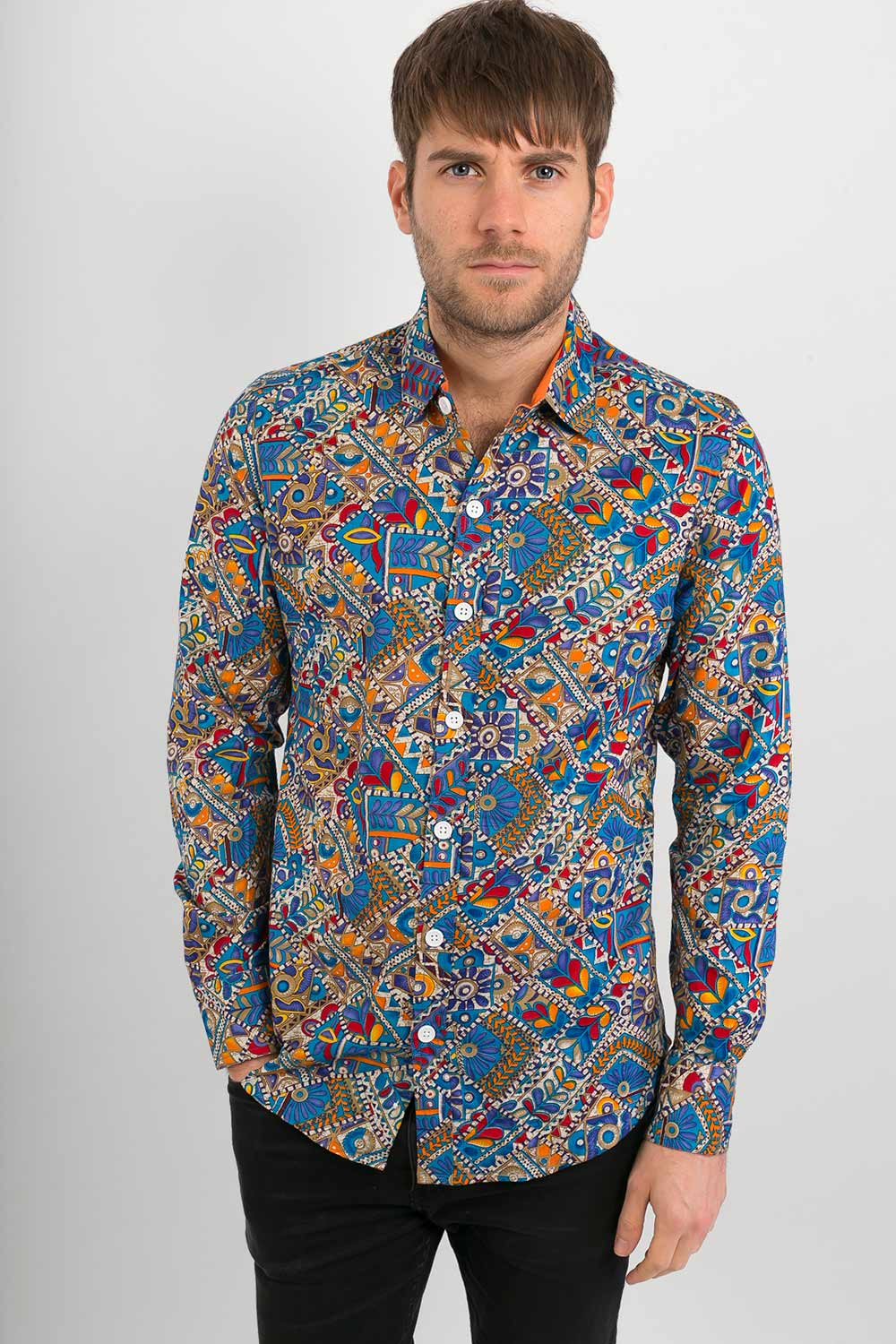Blue Multi Coloured  Print Cotton Slim Fit Mens Shirt Long Sleeve - Avalonia, Avalonia - Avalonia