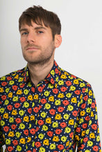 Orange Yellow Green Flower Blue Print Cotton Slim Fit Mens Shirt Long Sleeve - Avalonia, Avalonia - Avalonia